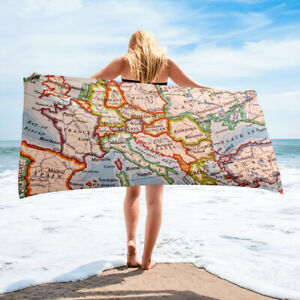 Europe Map Themed Beach Towel