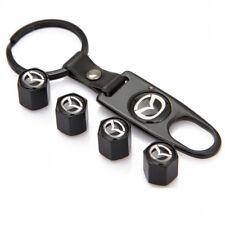 Nero x5 Ruote Pneumatici Valvola Polvere Tappi Wrench Spanner portachiavi Set anti furto MAZDA
