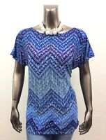 CHICO'S *NEW SIZE 1 (M) BLUE GEOMETRIC ROUND NECK DOLMAN SLEEVES TUNIC TOP