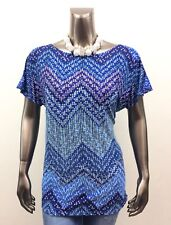 CHICO'S *NEW SIZE 2 (L) BLUE GEOMETRIC ROUND NECK DOLMAN SLEEVES TUNIC TOP