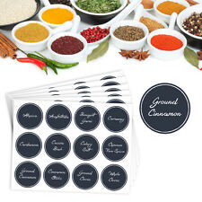 72 x Herb and Spice Jar Chalkboard Style Labels Vinyl Stickers Black 38mm round