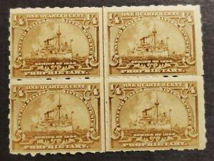"US Stamps Scott # Rb21 ""Battleship"" 1/4 cent Mint - MNH OG - Block"