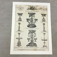 1880 Original Victorian Advert Antique Print Epergne Vintage Old Advertising