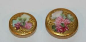 2 Matching Antique Hand-Painted Porcelain Sewing Buttons, Roses & Gold Leaf