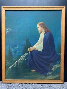 Vintage Jesus Christ On the Mount Olives Framed Painting Cardboard Canvas