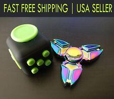 Fidget Cube + Rainbow Fidget Spinner Combo Hand Anxiety Focus Toy Gift figit 3
