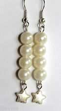 white faux pearl star and bead  EARRINGS Jewellery (T1)