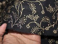 Cotton Floral Black Gold Hand Block Sanganeri Print Craft Dress Making Fabric