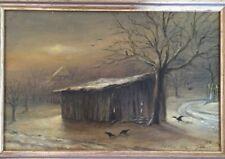 Hübsches älters Ölgemälde - Hütte im Schnee   - signiert Peter Jobst Lindau