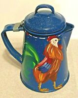 Vtg Retro BLUE Enamelware Speckled Metal Camp Coffee Pot Painted ROOSTER 6-1/4""