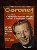 CORONET Magazine March 1965 Danny Kaye Frederick Plaut Jazz Unguarded Moments