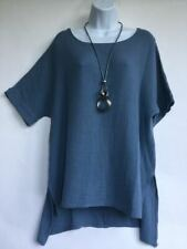 Lagenlook Soft Cotton Tunic Jersey Top & Necklace One Size (UK 12-22) Blue