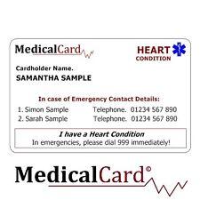 MedicalCard Medical Alert Card: Heart Condition - PVC Card!