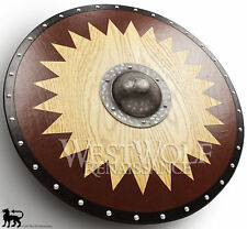 Viking Solid Board Shield with Forged Iron Boss - sca/larp/norse/Norway/wood/arm