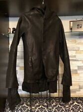 Boris Bidjan Saberi Hooded Leather J3 Lamb Leather Jacket FW09/10 Size Small S