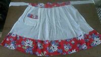 1960s Apron Half Handmade White Red Blue Floral Pocket Kitchen Linens Vintage