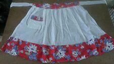 1960s Apron Half Handmade White Red Blue Floral Pocket Kitchen Linens Vintage