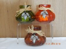 Three Pumpkin Glass Tealight Candle Holder with Straw Bow Metal Leaf