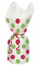 20 x Christmas Red & Green Spots dots Cello treat loot Party Bags favour bags