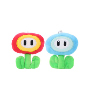 2 PCS Super mario bros brothers fire ice flower 3' plush stuffed toy doll strap