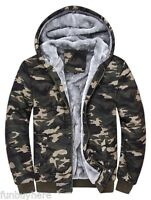 PLUS SIZE Men Army Fur Lined Military Camo Camouflage Hoodie Winter Jacket M-4XL