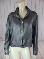 Versace Jeans Couture Jacket XL Black Silver Metallic Short Waisted AUTHENTIC!