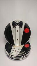 "Set of SIX Tuxedo Pattern 7 3/4"" Dessert Plates Made Japan for Amram's Toronto"