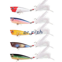 """Dr.Fish Fishing Popper Topwater Lures Feather Treble Hook Walk the Dog 2.5""""/6cm"""