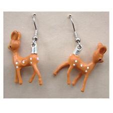 Funky BABY REINDEER EARRINGS Miniature Bambi Deer Vintage Charm Costume Jewelry