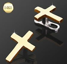 New 14ct Yellow Gold Cross Crucifix Religious Dermal Anchor Head Labret Top
