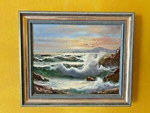 "Gemälde Öl "" Golf von Neapel "" signiert Nernado Di Guilio 37 cm x 31 cm"