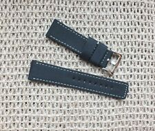 Canvas on Leather Watch Strap 24mm // Black  by Zuludiver