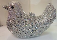 NIB Crystal Evening Bag Clutch Hand Bag purse made with swarovski elements(Dove)
