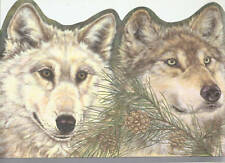 HEADS OF WOLVES PINE CONE bluedge Wallpaper Wall bordeR