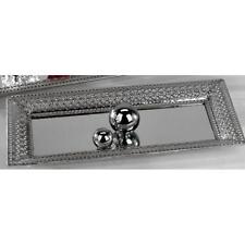 Spiegeltablett, Dekotablett  ROMANTIK, Metall, silber, 44x20 cm, Formano