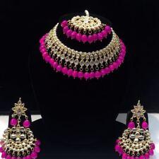 Bridal Necklace Set Indian Choker Kundan Maang Tikka Pearl For Woman Girl---