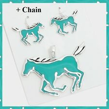 """Enamel Turquoise Horse Love Animal Pendant Earrings Set Necklace With 23"""" Chain"""