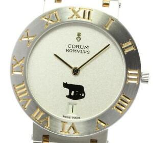 CORUM Romulus Date 43.903.21V48 SS Silver Dial Quartz Men's Watch Used