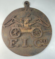 Vintage Cast Iron Firemens Insurance Co. Fire Mark Advertising Wall Sign Plaque