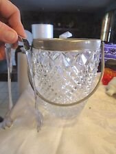 """Vintage Pressed Glass & Silver Plate Small Ice Bucket Swinging Handle  6"""" LOTHYM"""