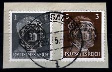 Löbau 3 + 4 Briefstück, 1 + 3 Pf. Hitler mit Aufdruck, gepr. Zierer BPP