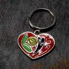 Vintage Pink Colorful ENamel Love Hippy Psychedelic Keychain Key Fob