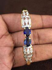 Stunning 3.95 Cts Natural Diamonds Sapphire Cuff Bracelet In Certified 14K Gold