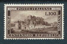 Italy 1949 Repubblica Centenary 100L Brown Mint Hinged CV £500