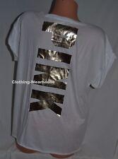Victoria's Secret PINK Rolled Cuff Short Sleeve White Gold Logo Tee Shirt L NEW