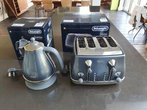 DELONGHI ICONA KBOT3001 Jug Kettle & CTOT4003 4-Slice Toaster Set Blue rrp £210