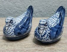 Vintage Fitz & Floyd Japan Birds Blue White Lidded Trinket Box Lot of 2
