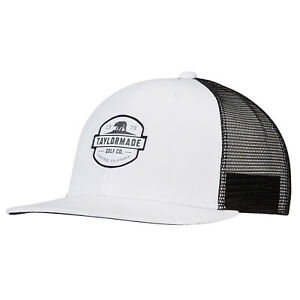 NEW TaylorMade 2021 California Trucker White/Black Snapback Golf Hat/Cap