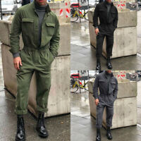 Autumn Winter Men Jumpsuit Polyester Long Sleeve Overalls Pants Romper Welcome