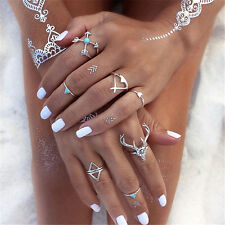7PCS Vintage Women Stack Plain Above Knuckle Ring Silver Midi Finger Tip Rings